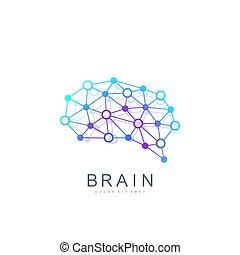 idea, concetto, colorito, logotype, creativo, cervello, vettore, disegno, sagoma, icon., logo.