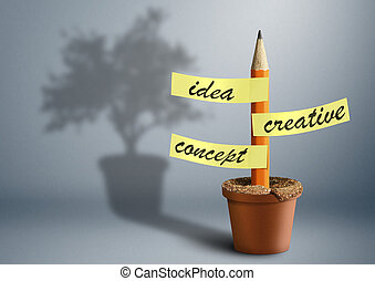 Idea creative concept, pencil with stickers as tree in pot