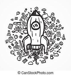 idea., croquis, icon., fusée, créatif