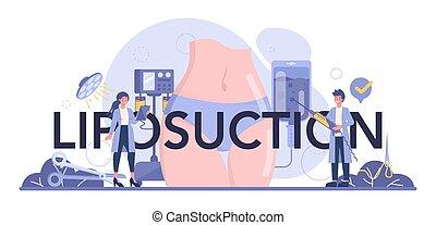 idea, cuerpo, header., liposucción, tipográfico, correction., cirugía