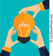 Idea design over blue background, vector illustration