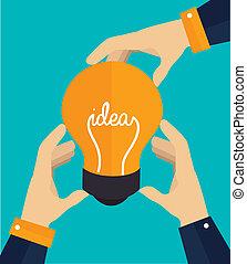 Idea design over blue background, vector illustration