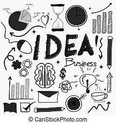 idea., disegnato, mano, affari, scarabocchiare