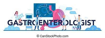 idea, doctor, asistencia médica, header., gastroenterologist, tipográfico