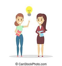idea., donne, creatività, possedere, innovazione