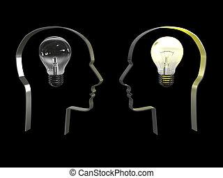 idea, en, un, cabeza encendido, negro, fondo., 3d, imagen