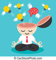 Light bulb and brain with wing flying from businessman meditation. Building idea concept. Cartoon design Vector illustration