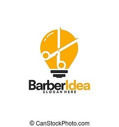idea, fryzjer, szablon, projekty, natchnienie, logo, wektor, fryzura
