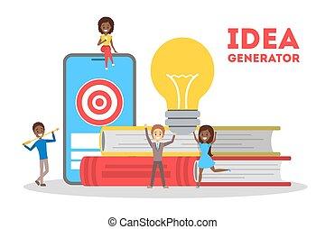 Idea generator concept. Creative thinking process, development