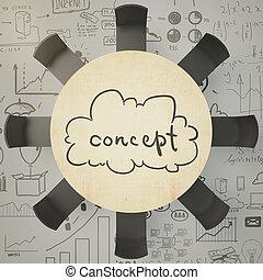 idea genial, concepto, con, redondo, tabla de madera, y,...