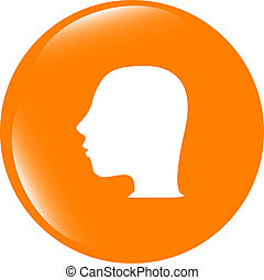 Idea head icon button . Flat sign isolated on white background