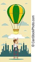 Idea hot air balloon. Idea concept