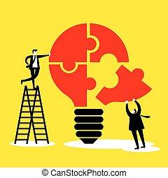 idea, i, teamwork, pojęcie