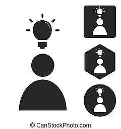 Idea icon set, monochrome