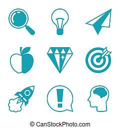 idea, icone concetto, in, appartamento, disegno, style.