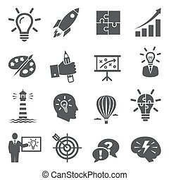 Idea icons on white background