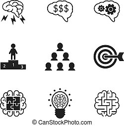 Idea icons set. Business strategy and management symbols