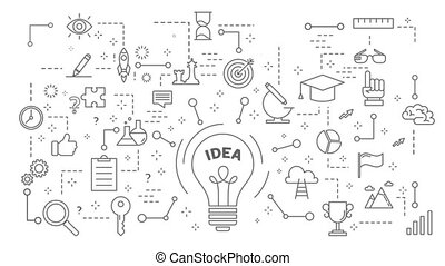 Idea icons set. on white - Idea icons set on white with...