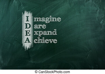 "Idea - IDEA acronym -"" Imagine,Dare,Expand,Achieve"". Drawn..."