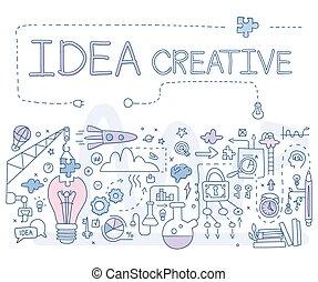 idea., illustartion, vettore, creativo