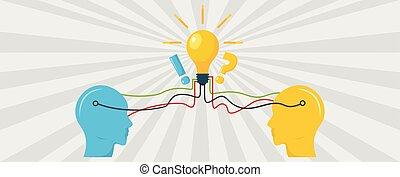 Idea in brain banner, flat style