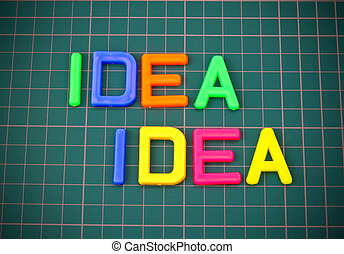 Idea in colorful toy letters oncutting mate