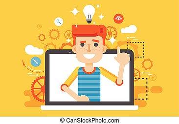 idea, indice, testa, appartamento, luce, stile, illustrazione, su, lampada, vettore, dito, sopra, bulbo, uomo