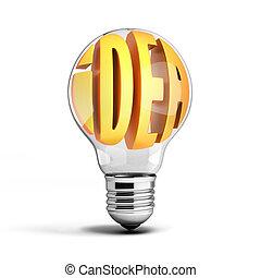 idea inside light bulb 3d illustration