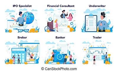 idea, inversión financiera, set., mercado, profesión, ...