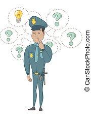 idea., ispanico, detenere, giovane, poliziotto