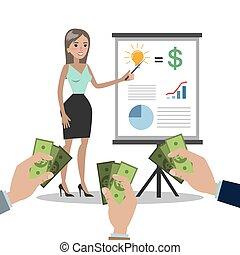idea., kobieta, sprzedajcie, handlowy
