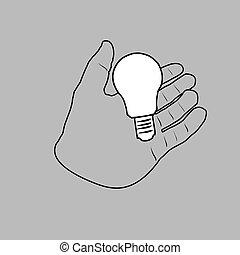 idea., lätt, begrepp, lök, hand