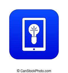 Idea lamp on gadget screen icon digital blue