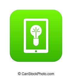 Idea lamp on gadget screen icon digital green