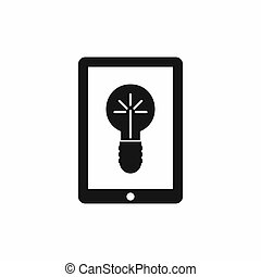 Idea lamp on gadget screen icon, simple style
