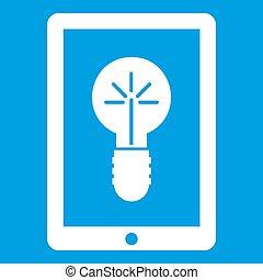 Idea lamp on gadget screen icon white