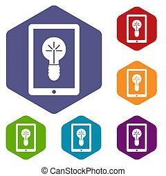 Idea lamp on gadget screen icons set