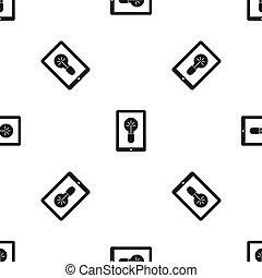 Idea lamp on gadget screen pattern seamless black
