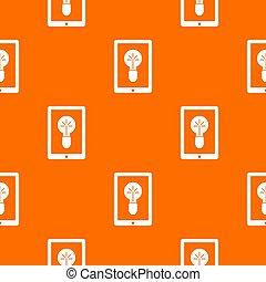 Idea lamp on gadget screen pattern seamless