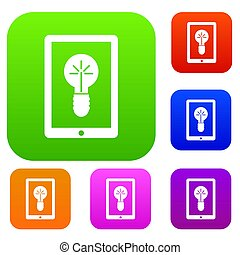 Idea lamp on gadget screen set collection