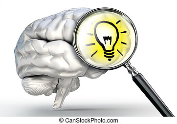 idea lamp on magnifying glass and human brain