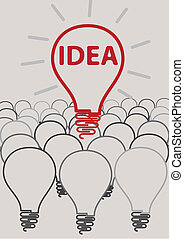 idea, lampadina, concetto, creativo, de