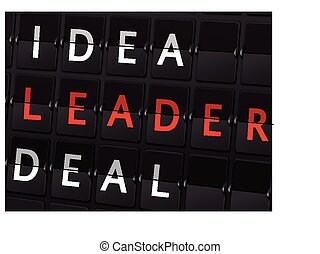 idea leader deal words on airport board