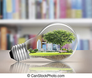 light bulb Alternative energy concept - Idea ,light bulb...