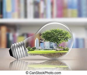 light bulb Alternative energy concept - Idea ,light bulb...