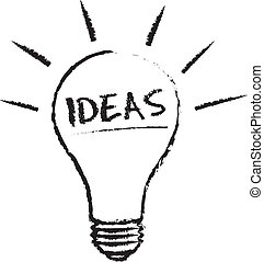 Idea Light Bulb chalk illustration on white background.