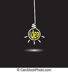 idea light bulb hanging in black background - concept vector icon. This graphic also represents creative problem solving, genius mind, smart thinking, inventive mind, innovative man, abstract thought