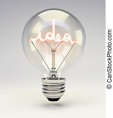 Light bulb with idea glowing filament