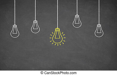 Idea Light Bulb on Blackboard