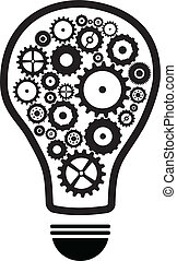 Idea Light Bulb With Gears